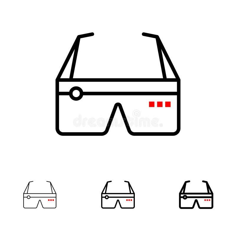 Djärv och tunn svart linje symbolsuppsättning för dator, för beräkning, Digital, för exponeringsglas, Google stock illustrationer