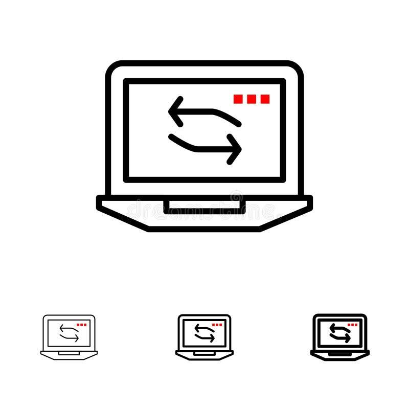 Djärv och tunn svart linje symbolsuppsättning för dator, för nätverk, för bärbar dator, för maskinvara vektor illustrationer