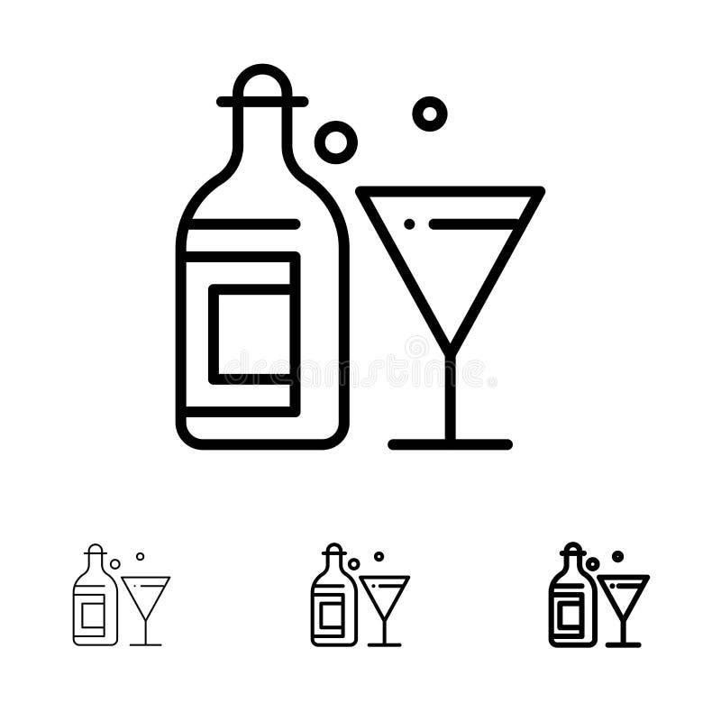Djärv och tunn svart linje symbolsuppsättning för exponeringsglas, för drink, för flaska, för vin royaltyfri illustrationer