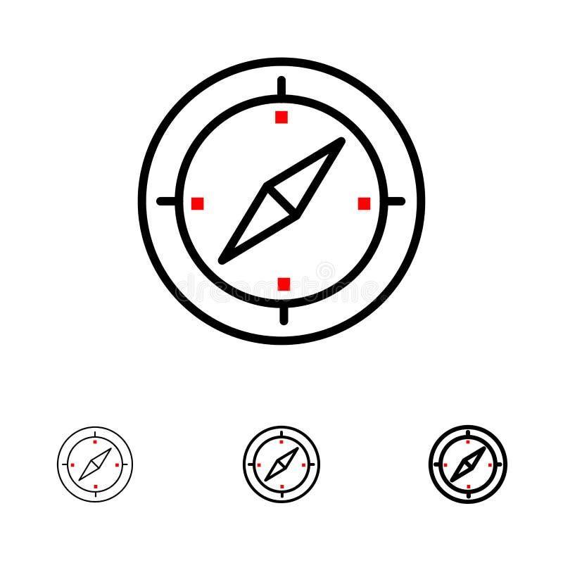 Djärv och tunn svart linje symbolsuppsättning för navigering, för riktning, för kompass, för Gps vektor illustrationer
