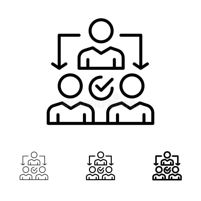 Djärv och tunn svart linje symbolsuppsättning för uppgift, för delegat, för delegera, för fördelning vektor illustrationer