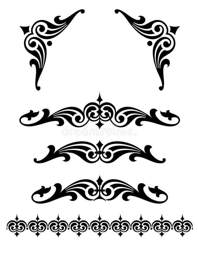 Djärv snirkeldesignuppsättning med hörnstycken stock illustrationer