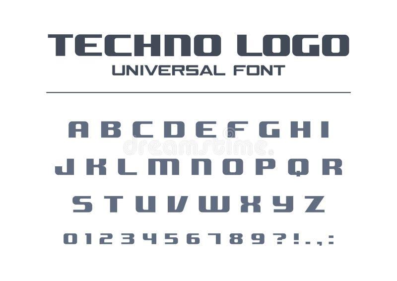 Djärv stilsort för teknologi Geometrisk typografistil Sport futuristiskt framtida technoalfabet Bokstäver nummer för stock illustrationer