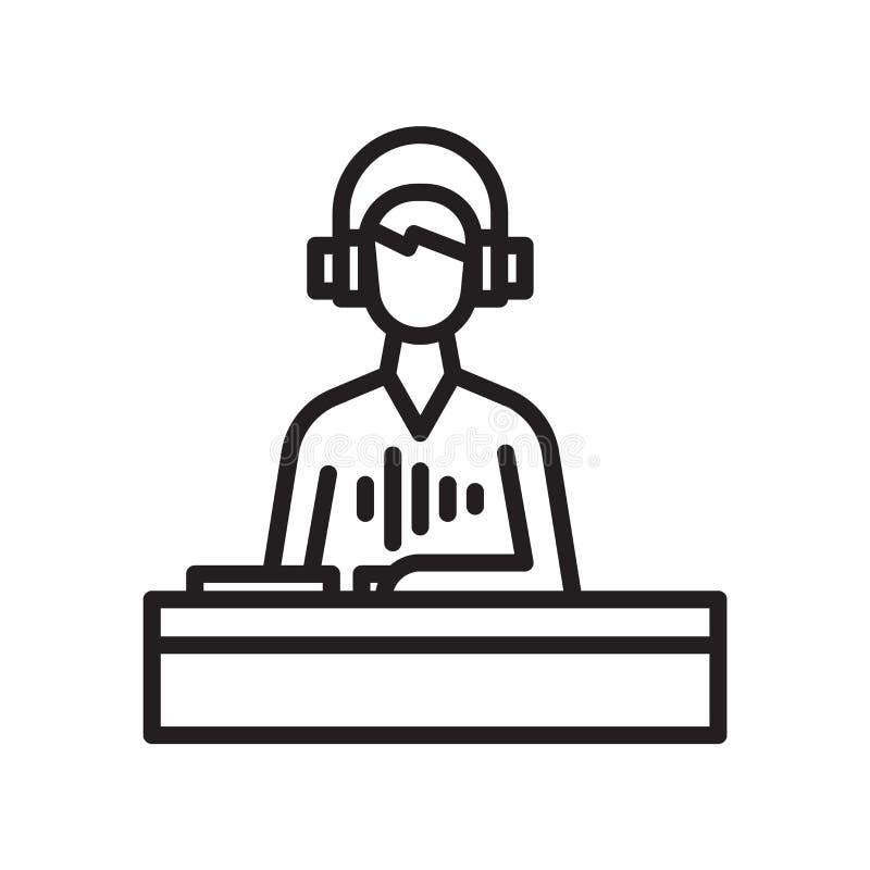 DJ在白色背景、DJ标志、线或者l隔绝的象传染媒介 向量例证