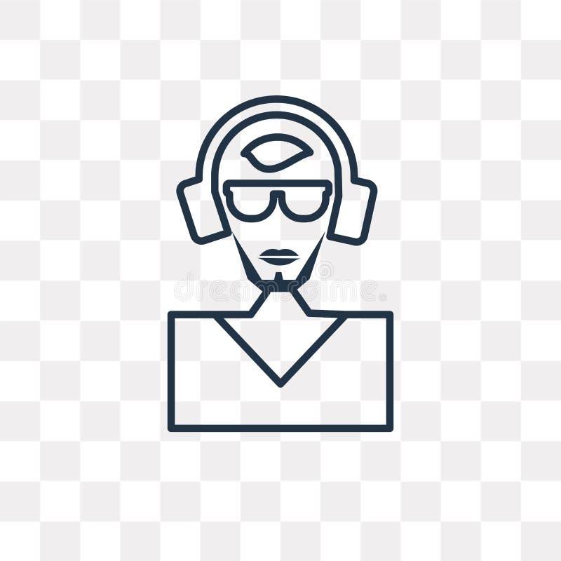 DJ在透明背景隔绝的传染媒介象,线性DJ tra 库存例证