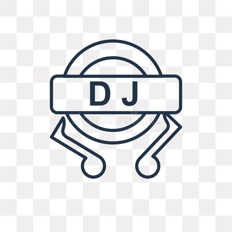 DJ在透明背景隔绝的传染媒介象,线性DJ tra 向量例证