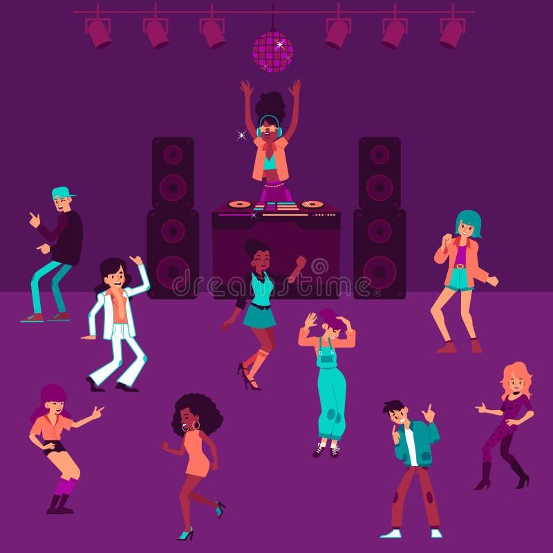 DJ女孩站立在夜总会动画片样式的混合的控制台和人跳舞 向量例证