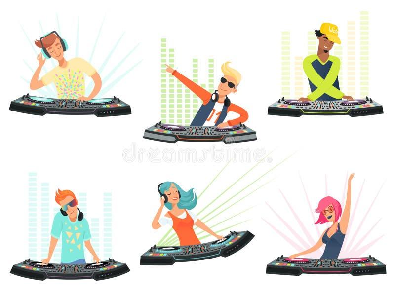 DJ字符 音乐动画片吉祥人的传染媒介例证 皇族释放例证