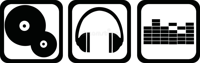 DJ象-乙烯基,耳机,调平器 向量例证