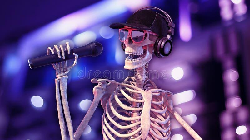 DJ骨头、人的演奏音乐在转盘的骨骼有话筒的和帽子,骨骼用音乐节目主持人音响器材 库存例证