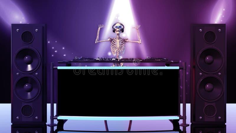 DJ骨头,人的骨骼用演奏音乐在转盘,骨骼的手用音乐节目主持人音响器材,正面图 皇族释放例证