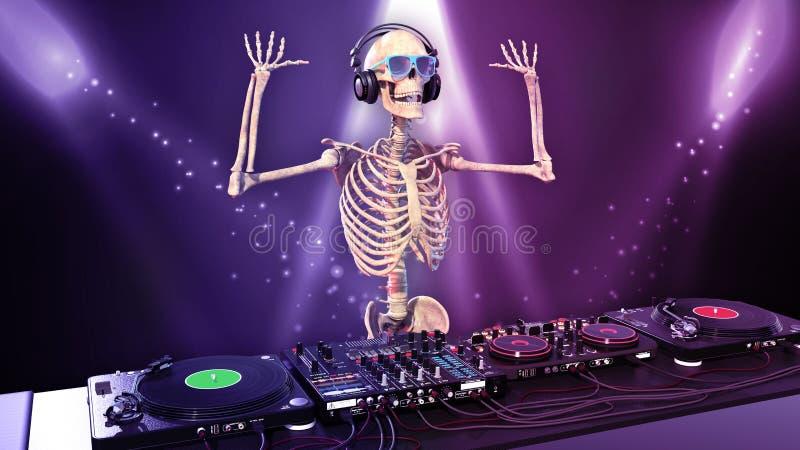 DJ骨头,人的骨骼用演奏音乐的手在转盘,最基本在阶段用音乐节目主持人音响器材 库存例证