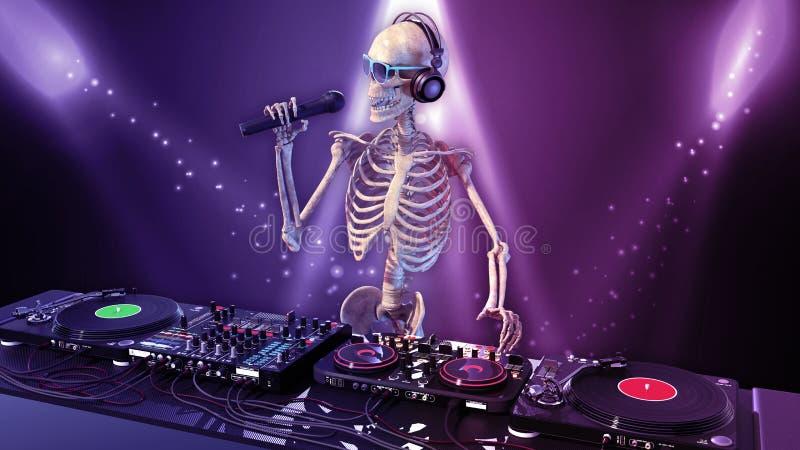 DJ骨头,有演奏在转盘的话筒的人的骨骼音乐,最基本在阶段用音乐节目主持人音响器材 向量例证