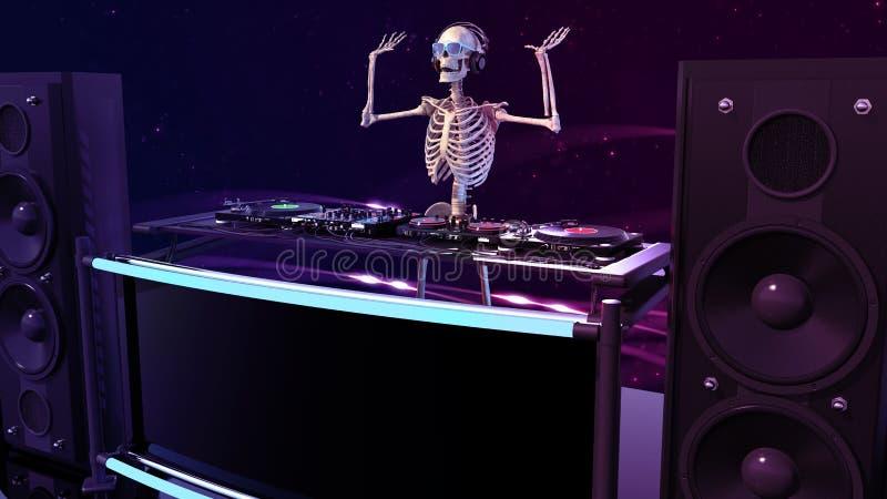 DJ骨头,演奏在转盘的人的骨骼音乐,最基本在阶段用音乐节目主持人音响器材,3D回报 库存例证