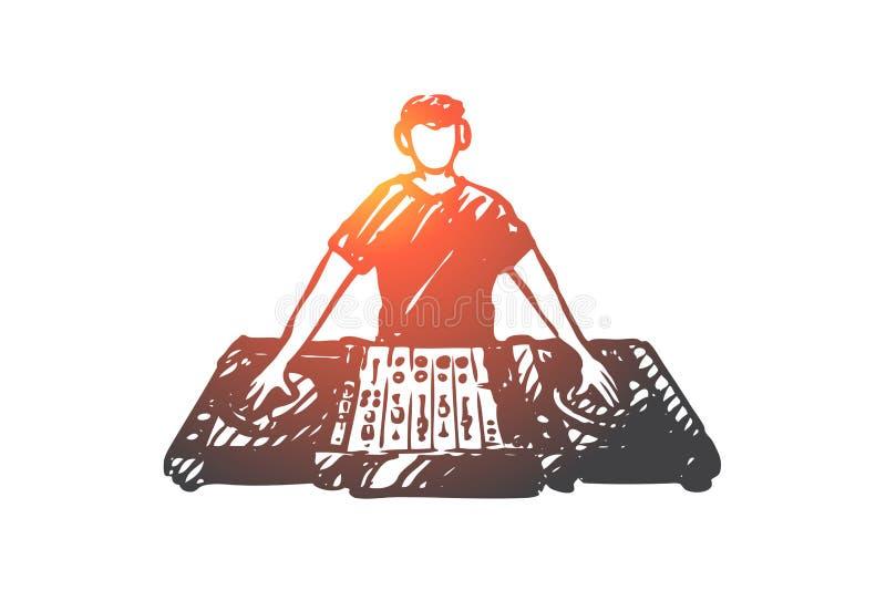 DJ,音乐,俱乐部,迪斯科,党概念 手拉的被隔绝的传染媒介 向量例证