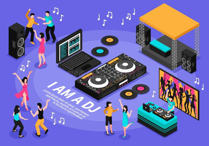 DJ και απεικόνιση μουσικής διανυσματική απεικόνιση