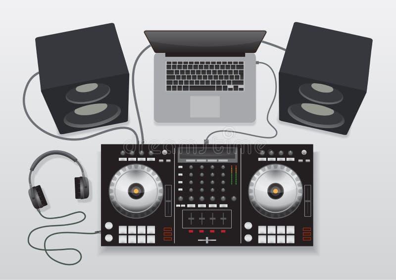 DJ που αναμιγνύει το σύνολο ελεγκτών στοκ εικόνες
