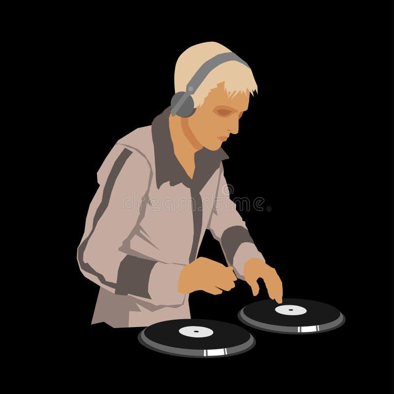 DJ που φορά τα ακουστικά και που γρατσουνίζει ένα αρχείο επάνω απεικόνιση αποθεμάτων