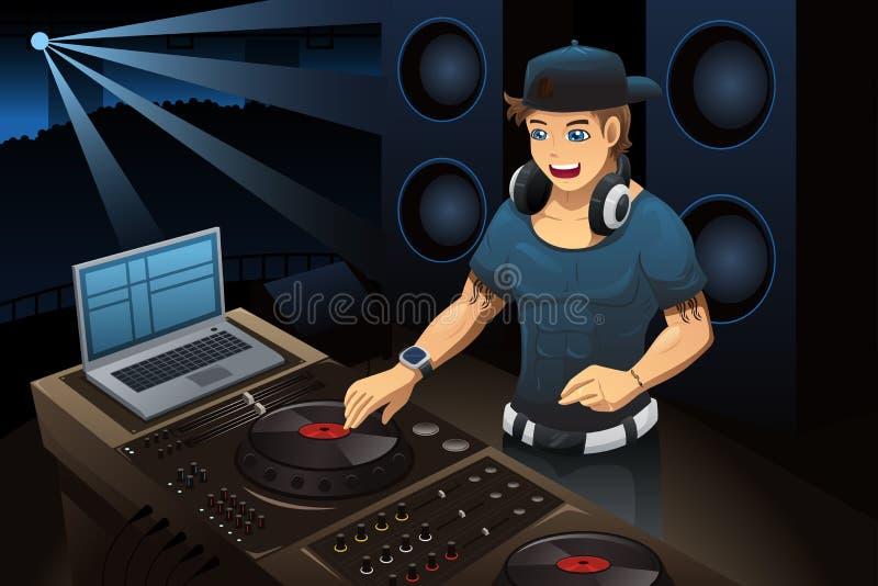 DJ выполняя в ночном клубе иллюстрация штока