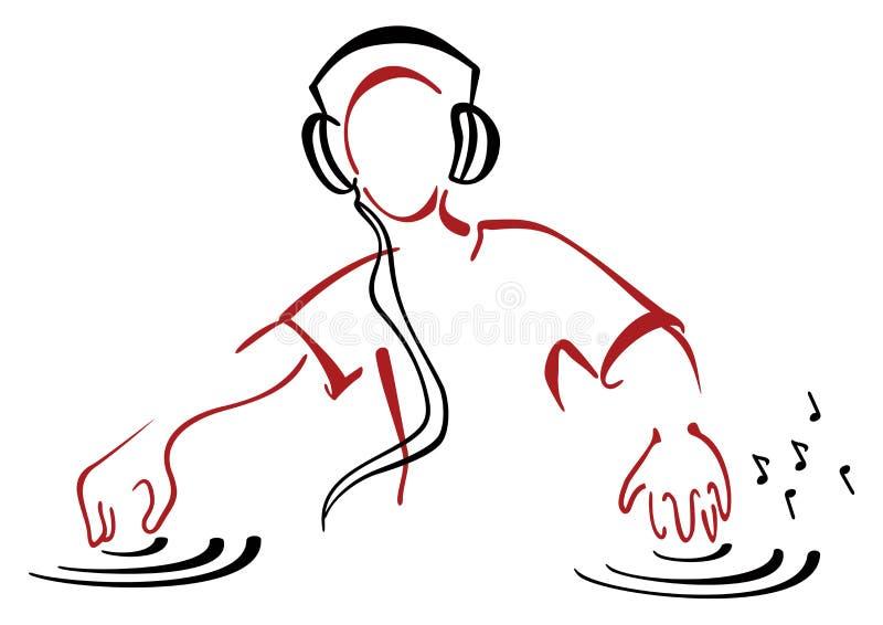 DJ за консолью иллюстрация штока