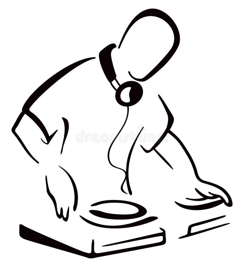 DJ за консолью иллюстрация вектора