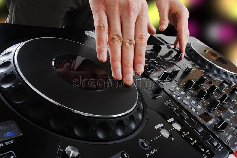 Dj. Disc on the dark stock photo