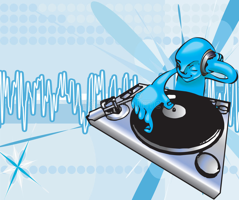 Dj. A funky dj mixing with background on separate layer. No meshes used, all blends or gradients royalty free illustration