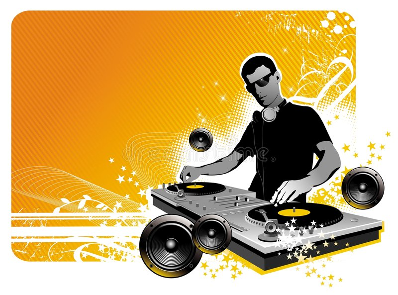DJ. Vector illustration with dj, turntable and loudspeakers