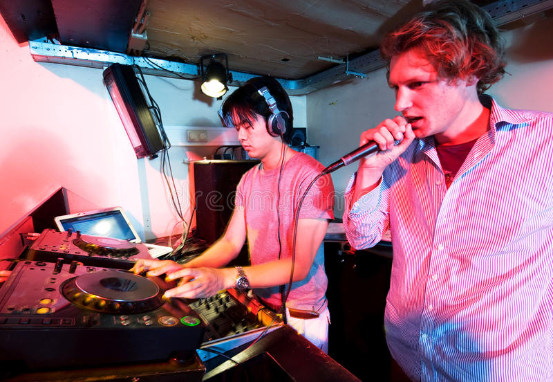 Dj in action stock images