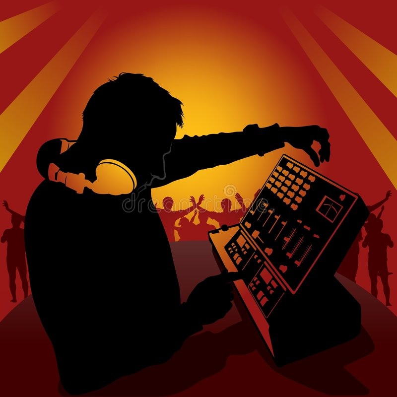 DJ in action stock illustration