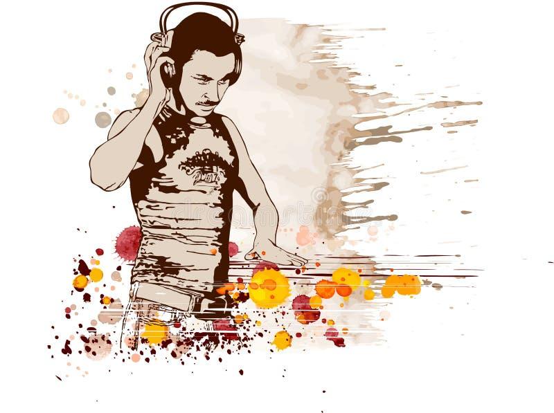 DJ & mistura das cores da música ilustração stock