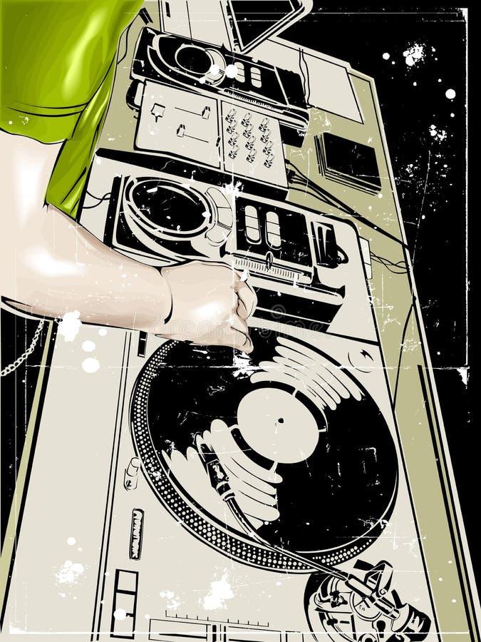 DJ aporrea danza stock de ilustración