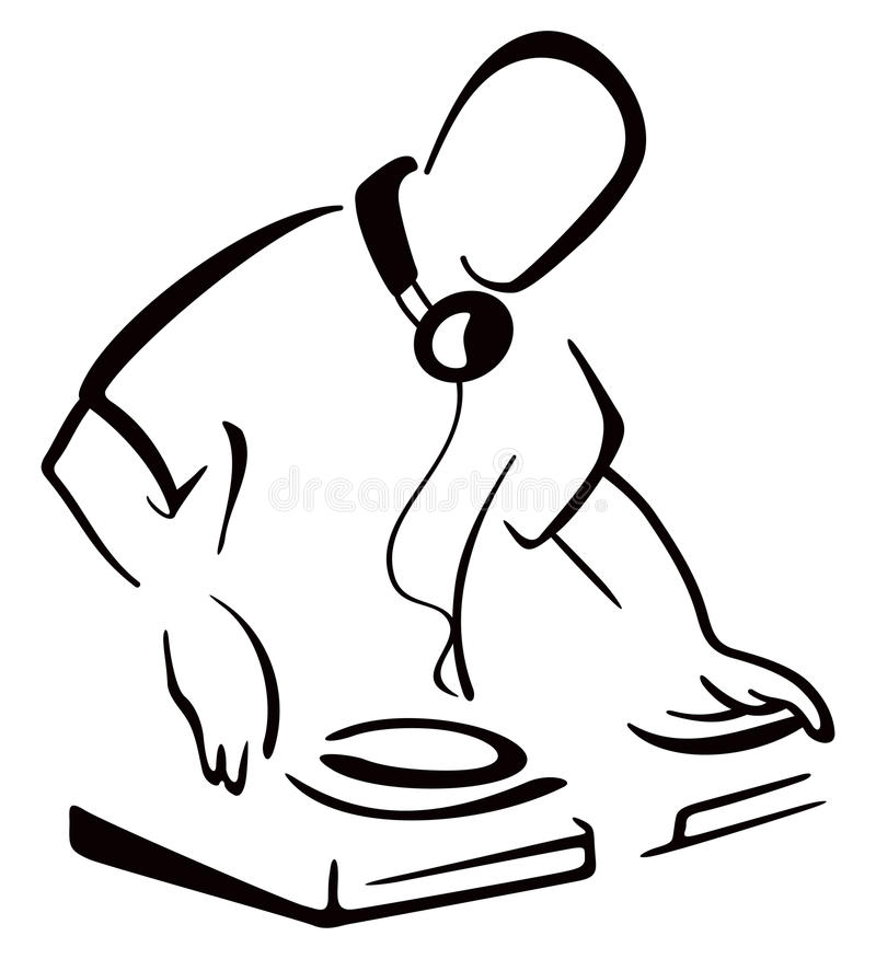 DJ behind console vector illustration