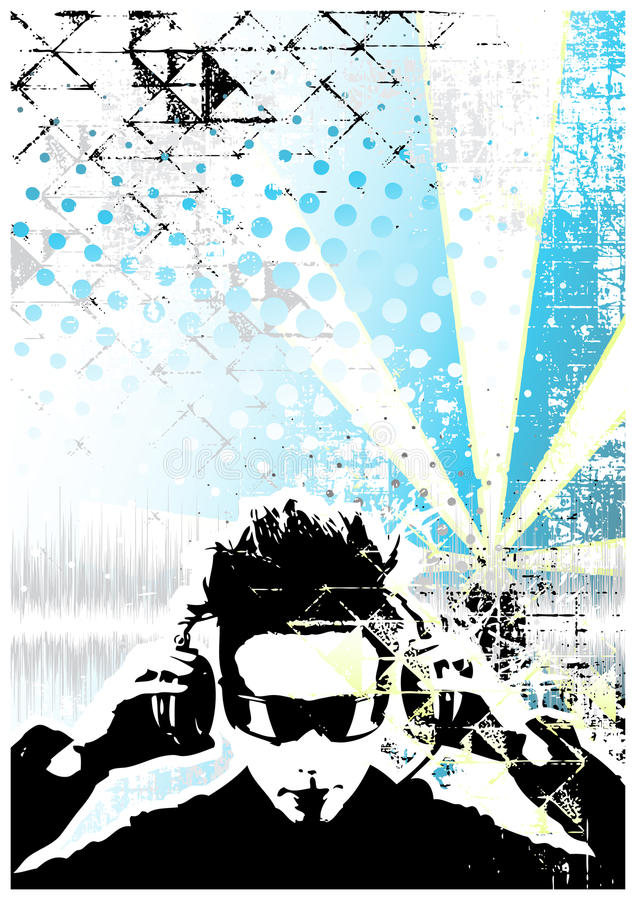 Dj Blue Poster Background Royalty Free Stock Photography