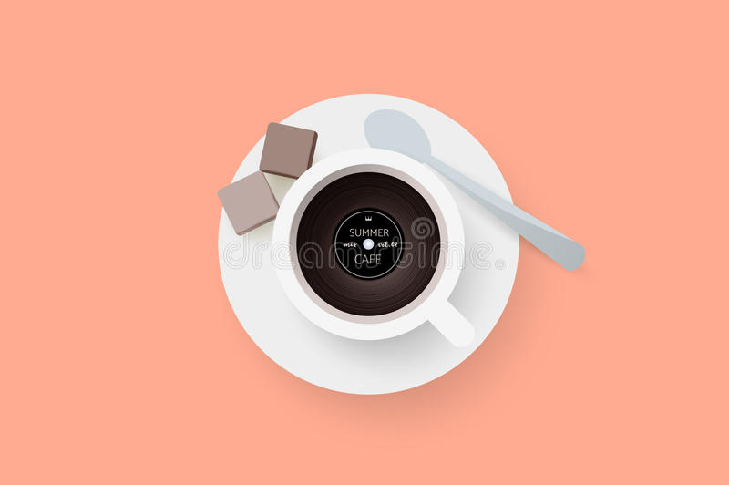DJ cafe. Abstract cup of coffee with vinyl record. Vector illustration.  royalty free illustration