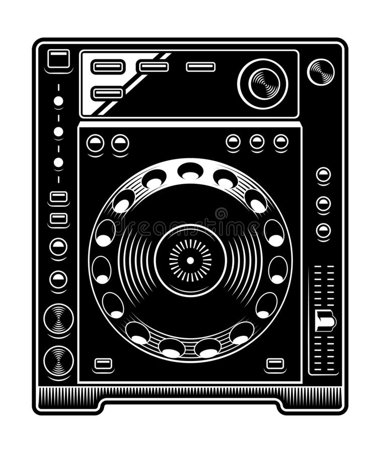 DJ CD player illustration on white background. DJ CD player illustration. Black and white design on the white background stock illustration