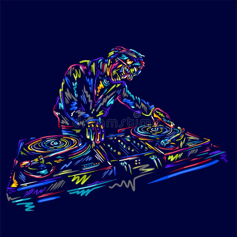 Dj character man vector with colorful music Hand drawn sketch. Disco, dance, fun, festival vinyl. royalty free illustration