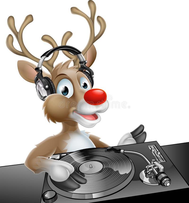 DJ Christmas Reindeer stock illustration