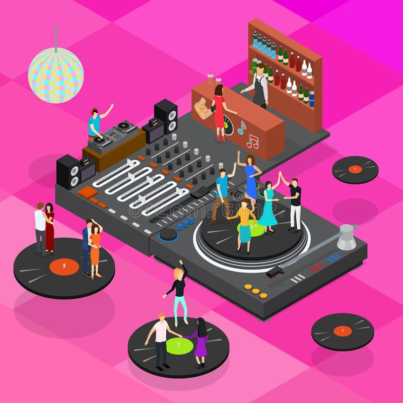 DJ Club Bar Concept 3d Isometric View. Vector stock illustration
