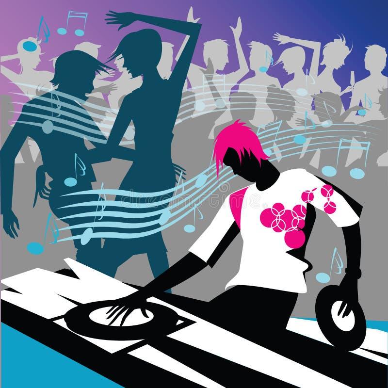 DJ com dança dos povos ilustração stock