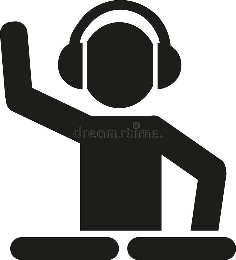 DJ com pictograma das plataformas giratórias ilustração stock