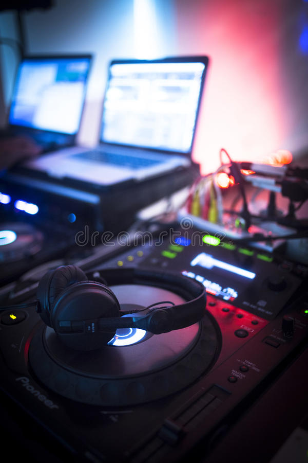 DJ console mixing desk Ibiza house music party nightclub royalty free stock photos