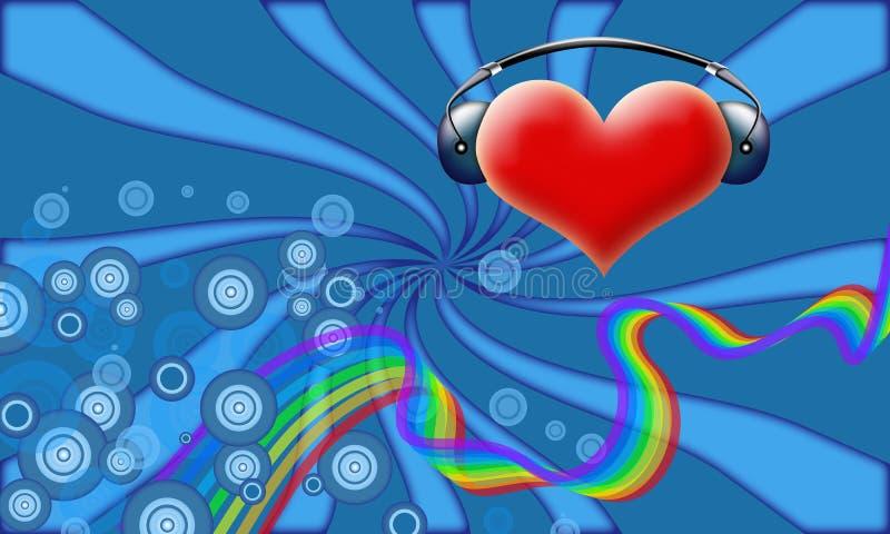 DJ de la tarjeta del día de San Valentín stock de ilustración