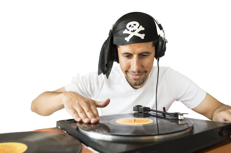 DJ die piraat mengen royalty-vrije stock foto's