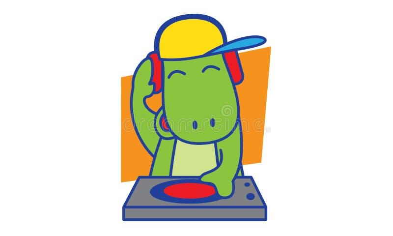 DJ Dinosaur. Illustration of DJ Dinosaur happy stock illustration