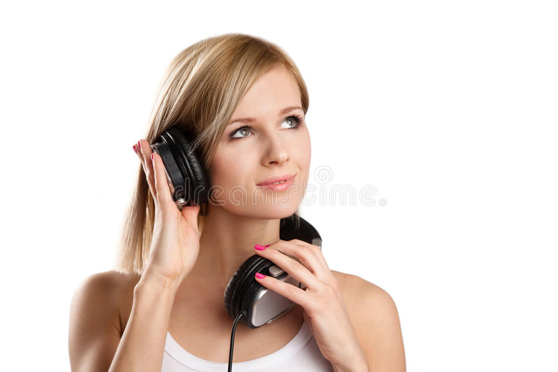 dj dziewczyny szczęśliwi hełmofony nastoletni zdjęcie stock
