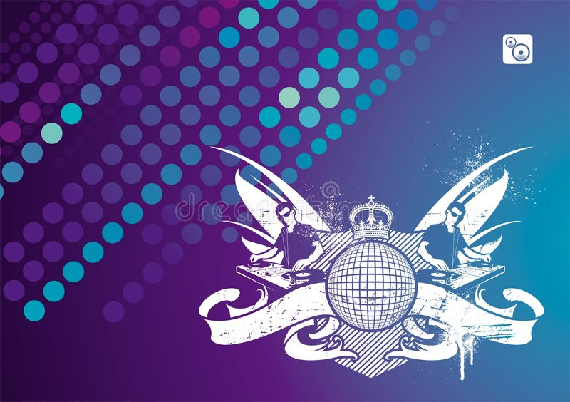 dj emblem musik stock illustrationer