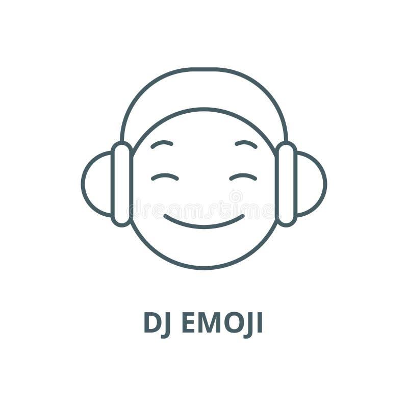Dj emoji line icon, vector. Dj emoji outline sign, concept symbol, flat illustration. Dj emoji line icon, vector. Dj emoji outline sign, concept symbol vector illustration
