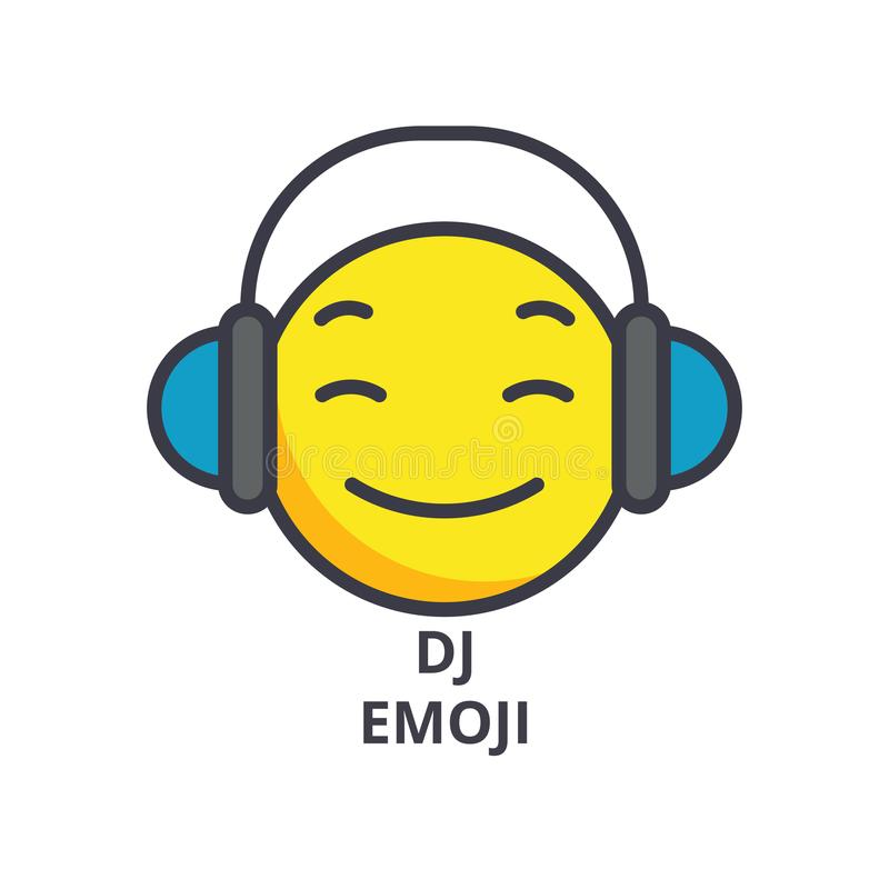 Dj emoji wektoru linii ikona, znak, ilustracja na tle, editable uderzenia ilustracji