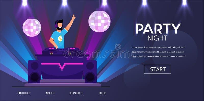 DJ en auriculares en la música del juego del partido del club nocturno ilustración del vector